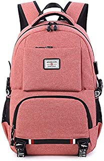 YYuzhongfenM USB Computer Backpack Casual Bag Oxford Cloth Couple Backpack Travel Backpack (Color : Pink, Size : 18 inch)