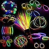 Doubleme Set de 100 Barras Luminosas para Fiestas - 20 cm, 10 Colores - LED Guirlanda, Kits para Crear Pulseras Luminosas, Collares,  Gorra, Gafas, Pendientes, Pulseras Triples, Diademas, Flores/ Bola