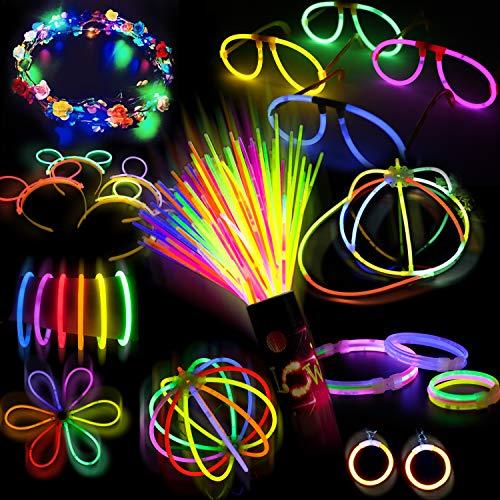 Doubleme 100 Bâtons Lumineux Fête -10 Couleurs-LED Guirlande de Fleurs,Kits pour Créer des Bonnets,Bracelets,Colliers,Lunettes,Boucles D'oreilles,Bracelets Triples,Bandeaux,Fleurs,Boules Lumineuses