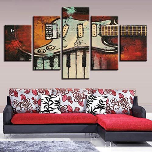 Afbeelding op canvas, modulair, decoratie voor kamer, muurschildering, 5 delen, muziekinstrumenten, gitaar en piano-toetsen, afbeeldingen op canvas.