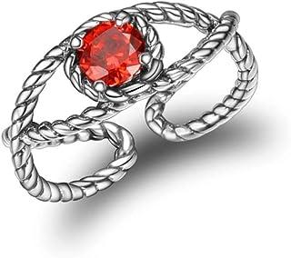 Lozse Anelli regolabili argento 925 intarsiato zircone anello regolabile anelli di anti-allergia Invia regalo di compleann...