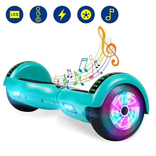 YHR Hoverboard UL 2272 Certified Two Wheel Electric Scooter Colorful Led Side Light Smart Self- Balancing Scooter (Green)