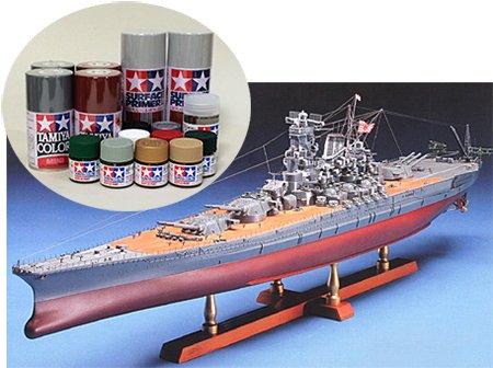 ウッディジョー/木製戦艦模型 1/250戦艦大和+塗料セット