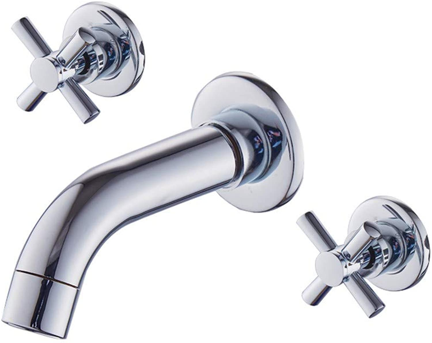 Zhcmy?Faucet Wall-Mounted Bathroom Cabinet Basin Faucet Double Three-Hole Concealed Split Hot And Cold Wash Basin Faucet