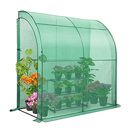 EAGLE PEAK 6.6' x 3.3' x 6.9' Outdoor Lean to Walk-in Greenhouse with Shelf, Gardening Wall Green House with Roll-up Zipper Entry Doors, Green
