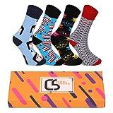 CREA SOCKS Calcetines para hombre y mujer, calcetines divertidos para regalos, calcetines de algodón, regalos para hombres, calcetines estampados únicos, 4 pares de calcetines coloridos EU 41-46