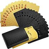 2 Barajas Cartas de Juego Cartas de Poker Impermeables Tarjeta de Poker Pet de Plástico Herramientas de Juego de Póquer Novedad para Fiesta de Juego de Familia (Negro Sólido, Dorado)