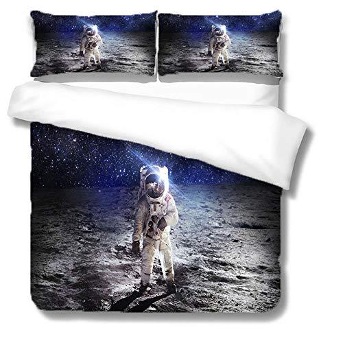 Set Copripiumino Matrimoniale 230x220 Astronauta sulla superficie della luna Morbido Traspirante 90gsm Microfibra Copri PiuminoCon Robusta Cerniera e 2 Federe 50x80