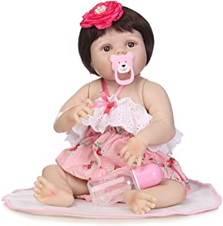 Docooler Reborn Baby Girl Doll 22 inch Soft Full Silicone Vinyl Body Lifelike Toddler Doll Play House Bath Toy Gift for Ages 3+ with Pink Dress