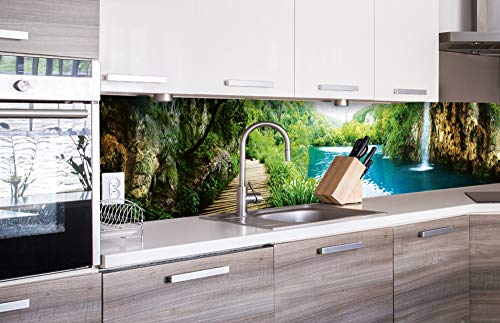 DIMEX LINE Küchenrückwand Folie selbstklebend ENTSPANNUNG IM Wald | Klebefolie - Dekofolie - Spritzschutz für Küche | Premium QUALITÄT - Made in EU | 260 cm x 60 cm
