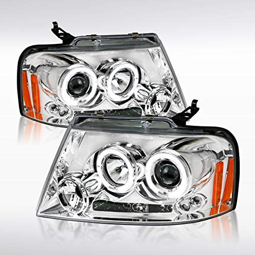 Autozensation For Ford F150 & Lincoln Mark LT Chrome LED Halo Projector Headlights