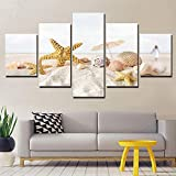 olwonow 5 Stück HD Print Wohnzimmer Wanddekoration Strand Sand Muscheln Seestern Kunst Bilder...
