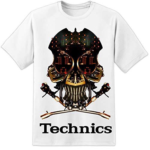 Technics, T-shirt con teschio, 1200DJ, (S 3XL), Vestax, Pioneer Serato, Traktor White Taglia unica