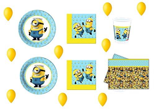 CDC – Kit N ° 15 Fête et Party moi moche et méchant Minions – 32 (32 assiettes, verres, 40 serviettes, 1 nappe, 100 ballons)
