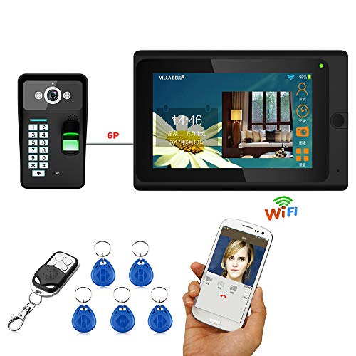 YHML Timbre De Anillo,De 7 Pulgadas con Cable/Inalámbrico WiFi La Huella Digital...