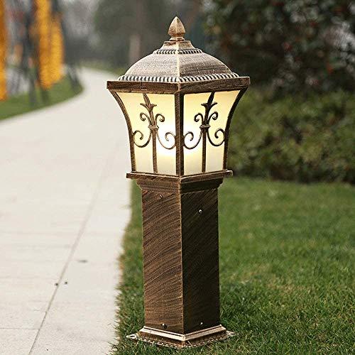 Luz de poste 60 cm de altura al aire libre luz del césped retro en fundición de aluminio Columna ligera impermeable americano antigüedad Patio Lamp Post Victoria Manor luz de puerta de cristal esmeril