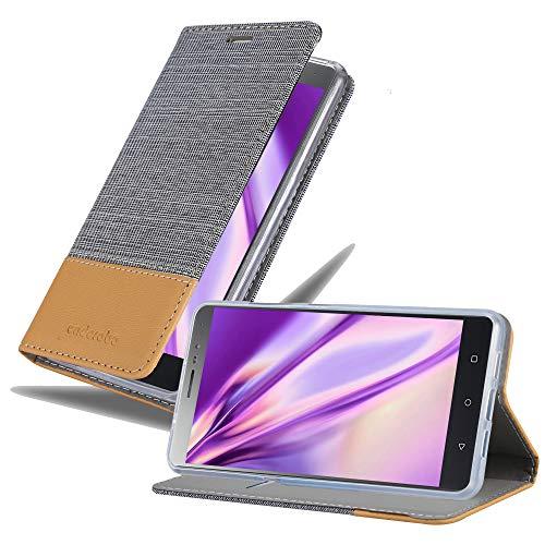 Cadorabo Hülle für Lenovo P2 - Hülle in HELL GRAU BRAUN – Handyhülle mit Standfunktion & Kartenfach im Stoff Design - Hülle Cover Schutzhülle Etui Tasche Book