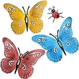 Hotop 4 Stücke Metall Schmetterling Wandkunst Metall Garten Marienkäfer Dekor für Drinnen Draußen Hof Wandbehang Skulpturen Dekoration 3 Farben