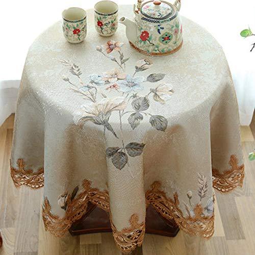 ZZKHSM Lace Round Tablecloth Rechteckige Esstischabdeckung Hochzeitsdekoration Home Kitchen Decoration-Beige_Diameter_140cm