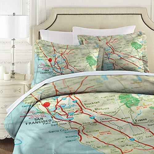 Bedding 3-Piece Queen Bed Sheets Set,Comforter Set Map San Francisco Area Vintage Comforter Cover Light Weight Queen Size