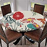 "Elastic Edged Polyester Fitted Table Cover,Dandelions Garden Beauty with Vivid Full of Various Wild Flower Bloom Modern Graphic,Fits up 45""-56"" Diameter Tables,The Ultimate Protection for Your Table,M"