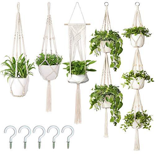 AerWo 5 Pack Macrame Plant Hangers Outdoor Indoor Hanging Planters + 5 Hooks,...
