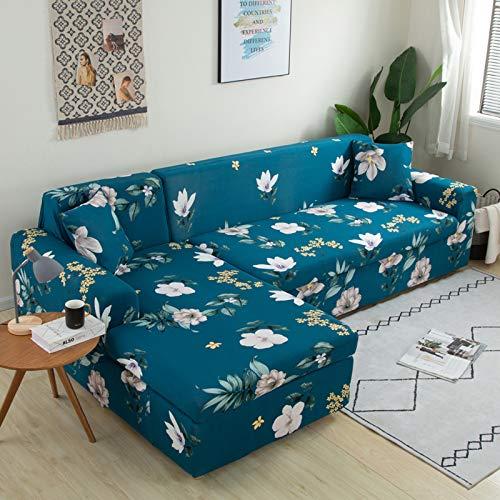 DKLE Fundas para Sofá Elasticas 1 Plaza, 2 Piezas Couch Cover con Estampado, Cubre Sofas En Forma de L, Protector Seccional Antideslizante para Muebles