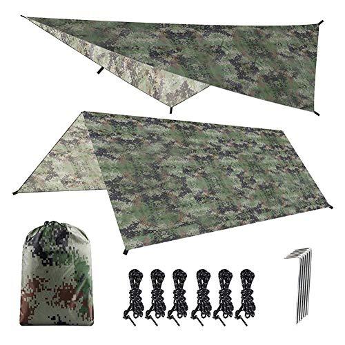 Toldo para Carpa de Hamaca, Refugio Impermeable para Lona de Camping, tapete de Picnic con protección UV, para Excursionismo de Senderismo