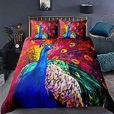 zzkds Funda de edredón con diseño de pavo real, pintura al óleo, diseño de plumas coloridas, diseño de animales, decoración de 3 piezas, individual (sin edredón)