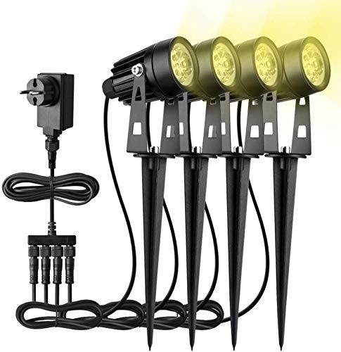 Gartenleuchten mit Erdspieß AIGUOZER 4 * 3W 7.6M LED COB Gartenbeleuchtung mit Strom IP65 Wasserdicht Warmweiß Deko Gartenlampe Gartenlicht Außenleuchte Wegbeleuchtung Gartenstrahler Ideal für Außen