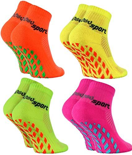 Rainbow Socks - Niñas Niños Calcetines Antideslizantes de Deporte - 4 Pares - Naranja Verde Amarillo Rosa - Talla 24-29
