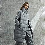 Hacrft Chaqueta larga de plumón para mujer, con solapa grande, cuello alto, gruesa, cálida en invierno, abrigo largo casual, negro, azul, gris (color: gris, talla: mediano)