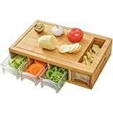 NOVAYEAH Bamboo Cutting Board with 4 Containers, Large Chopping Board with Juice Grooves, Easy-grip Handles & Food Sliding Opening, Carving Board with Trays for Food Storage, Transport and Cleanup