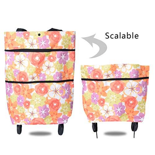 Icecode, carrello per la spesa pieghevole con ruote, borse per la spesa riutilizzabili con maniglie per l'uso quotidiano Rosa