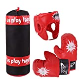 BKAUK - Juego de guantes de boxeo para niños, diseño de casco de mano