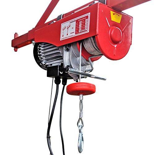 CROSSFER PA600A Elektrischer Seilhebezug 230Volt für 300kg/600kg Last Seilwinde mit Umlenkrolle als Flaschenzug Seilzug 12 Meter Hubhöhe Hebezug Lastkran