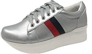 Glaze - Women's Red and Black Double Stripe Stylish Comfortable Lace Up Sneakers