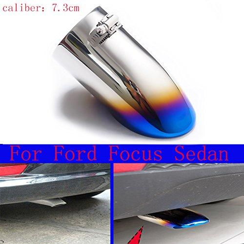 New 1 pcs en acier inoxydable Chrome Queue de silencieux d'échappement Tuyau d'échappement moitié Bleu pour Focus Sedan 2012 2013 2014 2015 2016 2017 2018 2019 2020