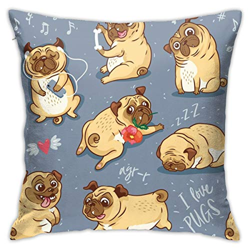 Cartoon Pug Pupies Bull Terrier Animal Rose Dog Throw Pillow Covers Decorative 18x18 Inch Pillowcase Square Cushion Cases for Home Sofa Bedroom Livingroom