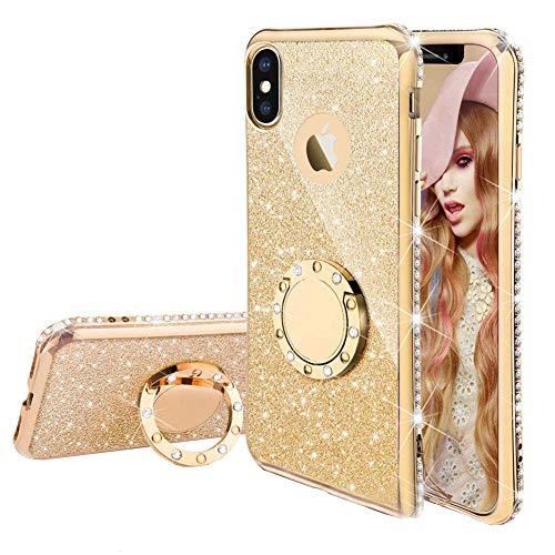 Homikon Silikon Hülle Kompatibel mit iPhone XS Max Überzug TPU Bling Glitzer Strass Diamant Schutzhülle mit 360 Grad Ring Ständer Soft Flex Durchsichtig Silikon Handyhülle Tasche Case - Gold