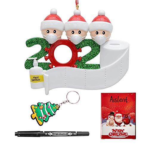 Aislent Adorno navideño Cuarentena Familia Árbol de Navidad Adornos Colgantes 2020 Decoración navideña para el hogar Regalo Creativo de Navidad, rotulador Gratis Y Llavero navideño