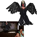 Toy Cubby Grim Reaper Ghoul Animated Halloween Prop with Flashing Eyes - Black Flying Skeletal Ghost Creepy Halloween Decoration - 3 ft. Party Prop Decoration