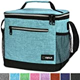 OPUX Insulated Large Lunch Bag, Men Women | Meal Prep Lunch Box for Adult, Kids | Soft Leakproof Lunch Pail Cooler Bag with Shoulder Strap for Work, School, Beach | Fits 18 Cans (Turquoise)