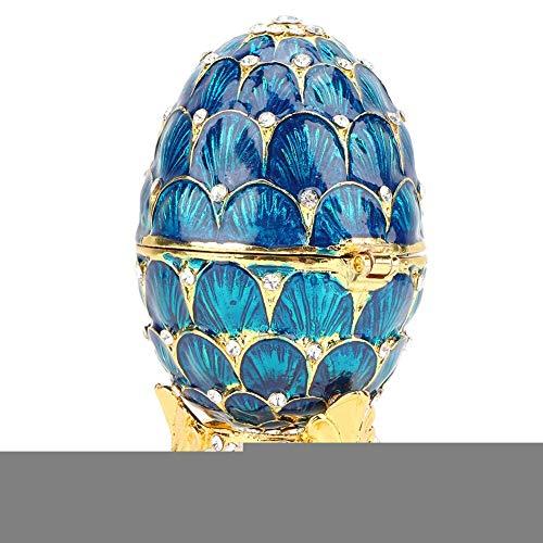 Hilitand Schmuck Veranstalter Diamante Trinket Box Vintage Faberge Stil Ei Sammler emaillierte Osterei Dekoration Handwerk Geschenk(Blue)