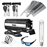 iPower GLSETX600DHW20GBCB4 600 Watt HPS Digital Dimmable Ballast Light System Kits Horticulture Wing Reflector Hood Set with HPS & MH Grow Room Glasses Anti UV and Cable Tie of 4in, 600W