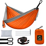 Camping Hammock, Lightweight Portable Hammock with Tree Straps, Nylon Parachute Single & Double Camping Hammock for Indoor Outdoor Backpacking Travel Beach Garden Yard …