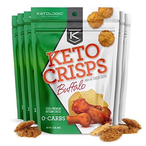 KetoLogic Keto Cheese Crisps: Buffalo (6 Pack) – Oven Baked, Sustainably Sourced, Keto Snacks - Low Carb, High Fat, High Protein, Gluten Free by KetoLogic