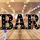Oycbuzo Marquee Letter Sign Lights – Light Up Black Letters Home Decor Name Signs – Battery Operated LED Remote Timer – Lighted Vintage Accessories & Decorations BAR
