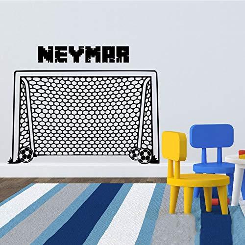 DLYD Fußballtor Wandtattoo mit Benutzerdefinierten Namen Sport Fußball Wandtattoo Kunstdekoration Fußballtor Netz Aufkleber Aufkleber Junge Zimmer 97x75cm