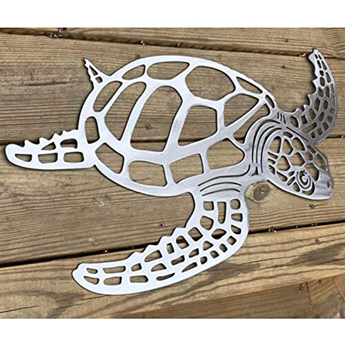Dreafly Metal Sea Turtle Ornament Decor-(2021 Beach Theme Wall Art Decorations Wall Hanging for Indoor Livingroom